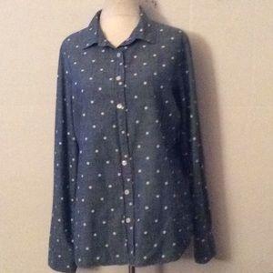J.Crew perfect shirt blue & white polka dots #M